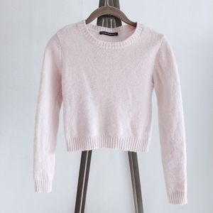 Brandy Melville Cropped Lambswool Pink Sweater